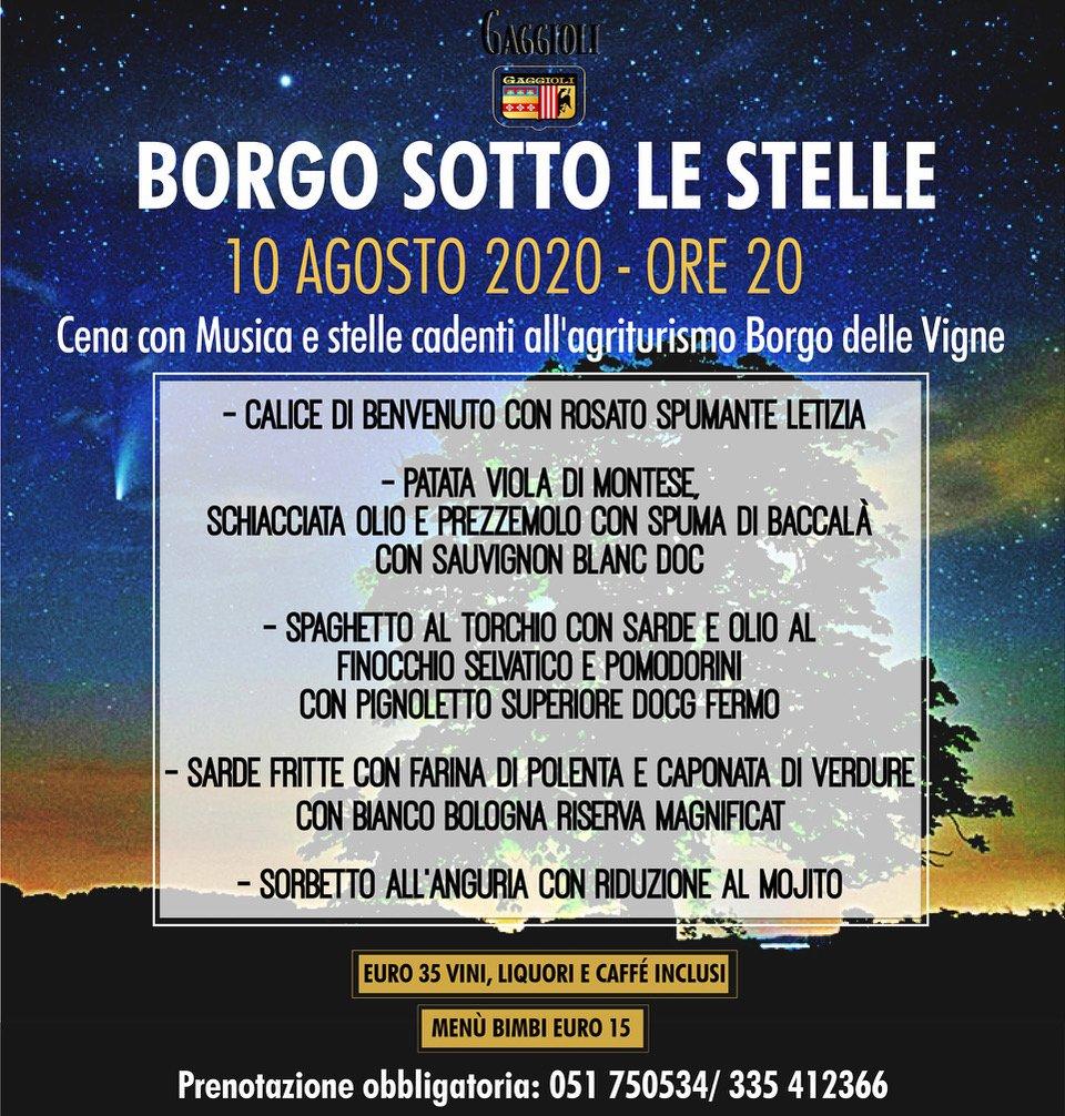 Borgo sotto le stelle cena e musica il 10 agosto 2020