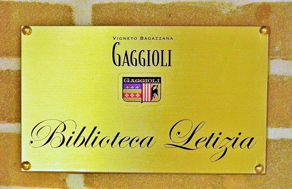 targa Biblioteca Letizia agriturismo Borgo delle Vigne Zola Predosa