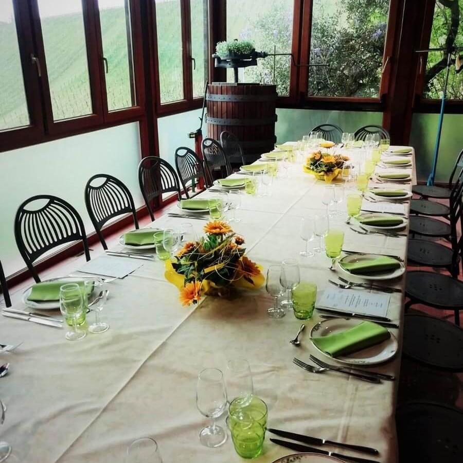Sale con vista del ristorante Borgo delle Vigne sui Colli Bolognesi